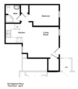 student apartment for rent near Cornell floor plan for 102 Highland Place 6th floor